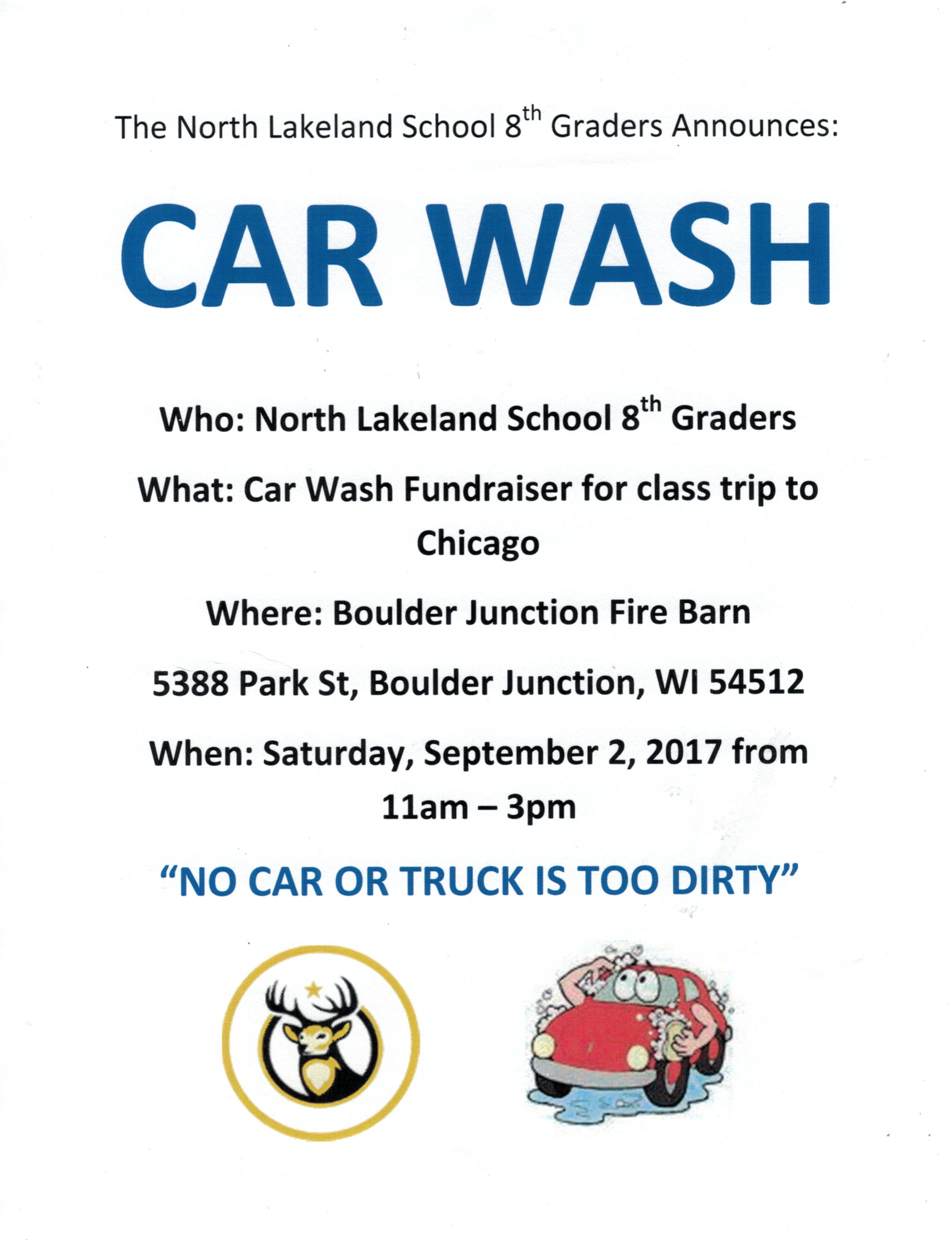 North Lakeland 8th Graders Car Wash Boulder Junction